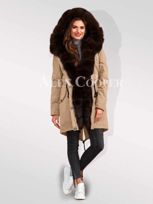 An incredible range of Arctic fox fur hybrid beige parka convertibles for women