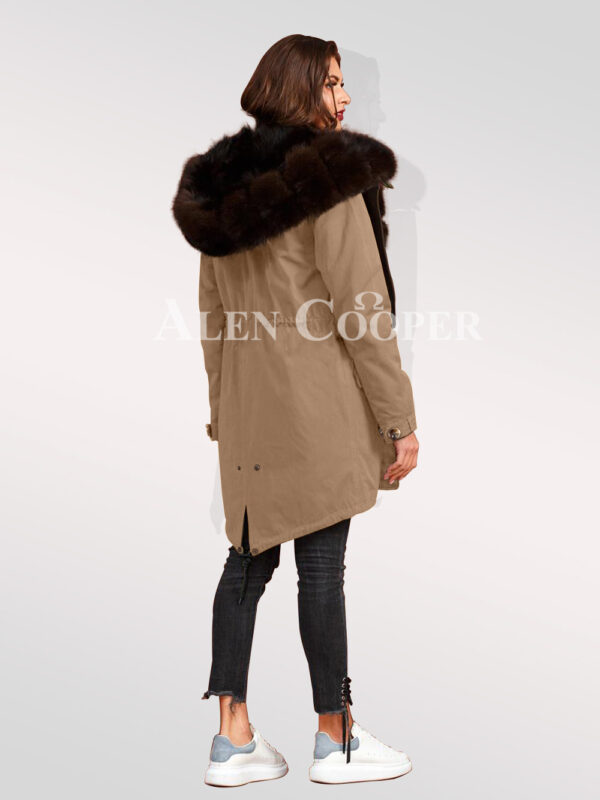 An incredible range of Arctic fox fur hybrid beige parka convertibles for women back side view