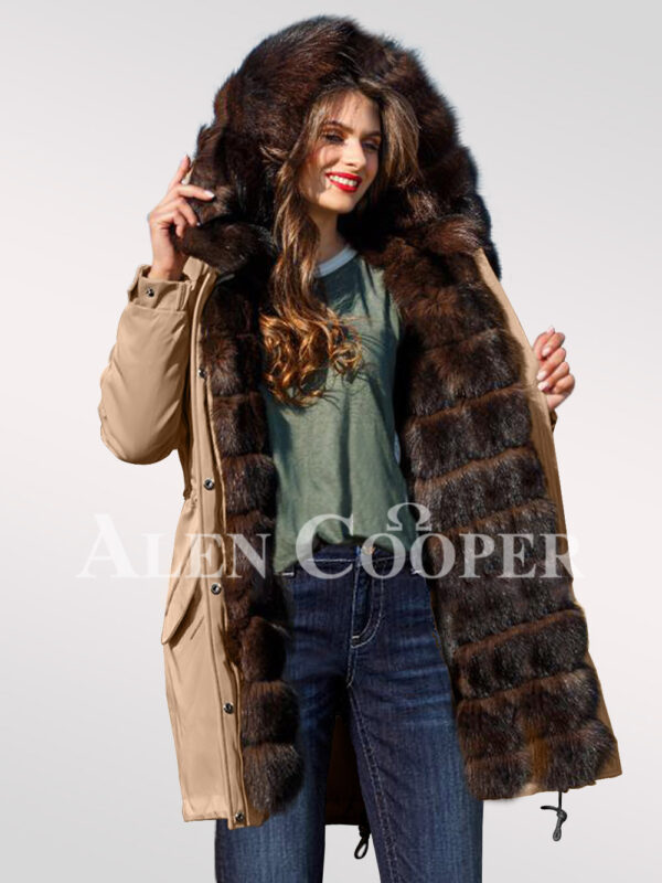 An incredible range of Arctic fox fur hybrid beige parka convertibles for women view