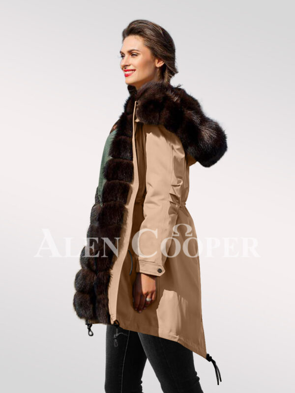An incredible range of Arctic fox fur hybrid beige parka convertibles for women views side view