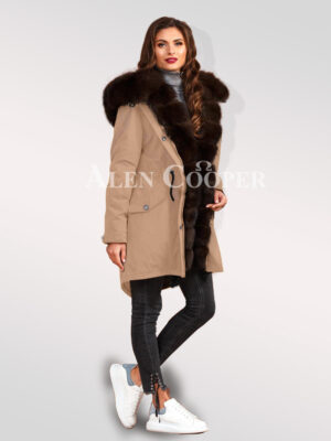 An incredible range of Arctic fox fur hybrid beige parka convertibles for womens