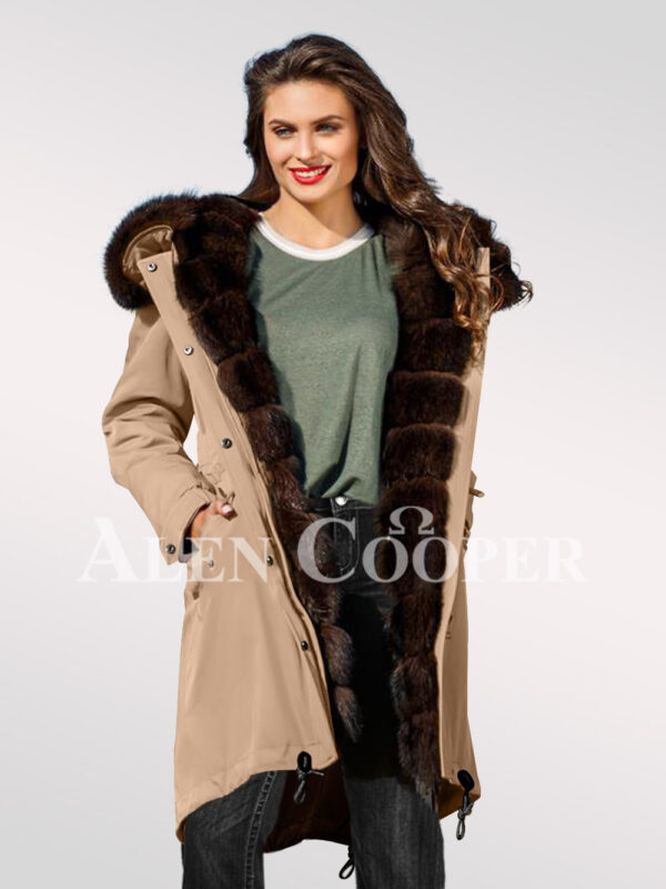 An incredible range of Arctic fox fur hybrid beige parka convertibles for womens views