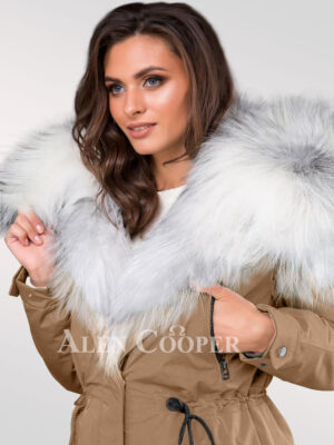 Arctic fox fur hybrid beige feminine parka convertibles to turn all eyes on you