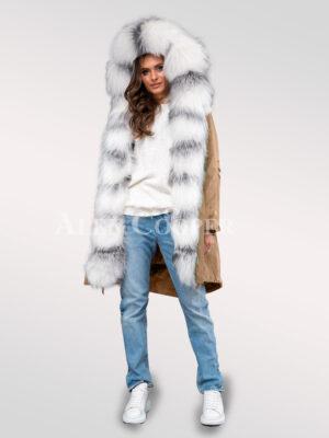 Arctic fox fur hybrid beige feminine parka convertibles to turn all eyes on you!