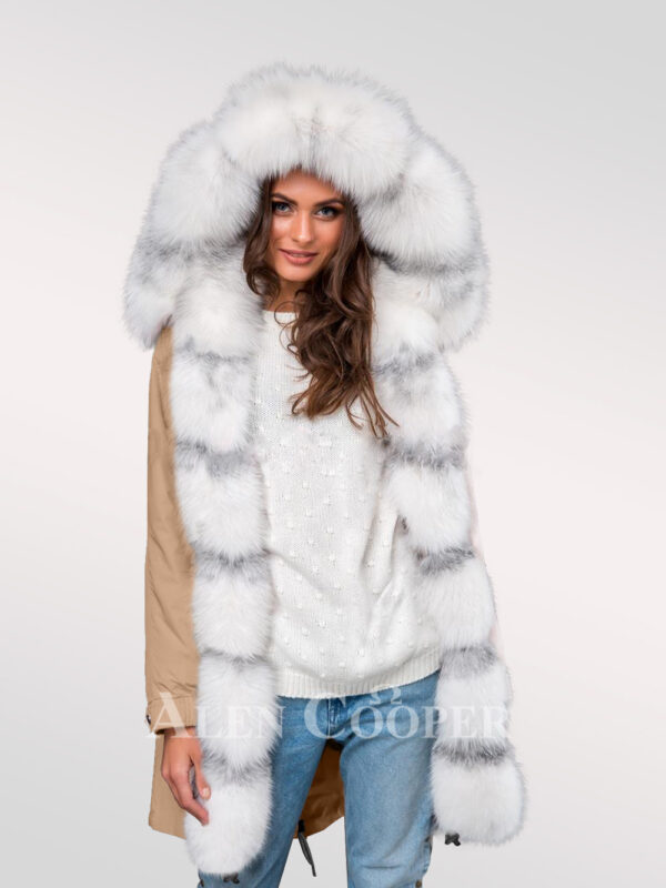 Arctic fox fur hybrid beige parka convertibles to make ladies more gorgeous