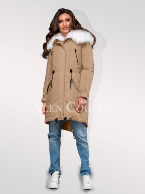 Arctic fox fur hybrid beige parka convertibles to make ladies more gorgeous for women