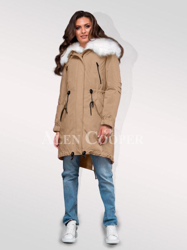Arctic fox fur hybrid beige parka convertibles to make ladies more gorgeous for women