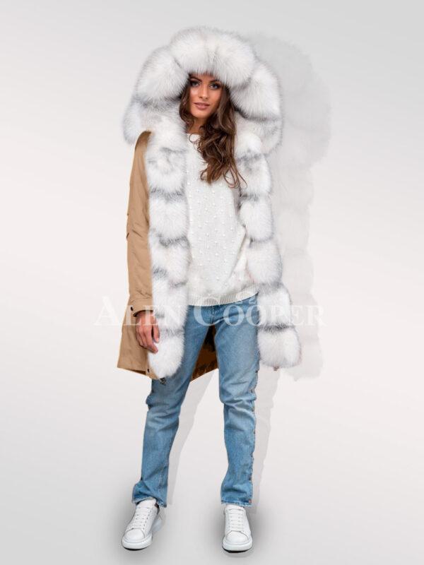 Arctic fox fur hybrid beige parka convertibles to make ladies more gorgeous women