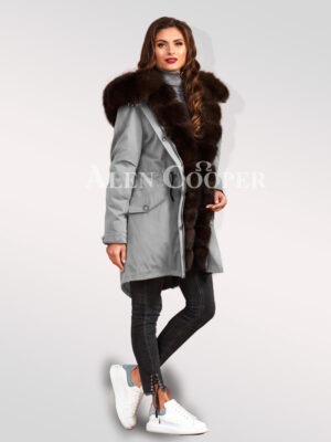 Arctic fox fur hybrid grey parka convertibles for divas to outsmart fairies