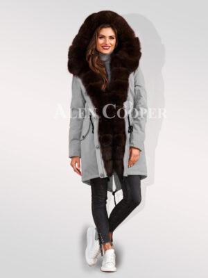 Arctic fox fur hybrid grey parka convertibles for divas to outsmart fairies womens