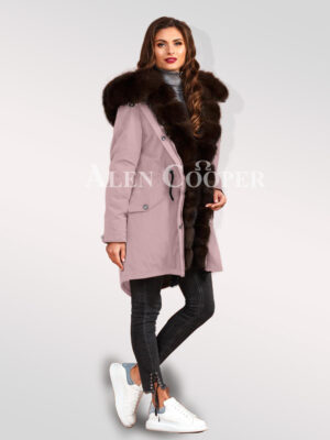 Arctic fox fur hybrid pink parka convertibles to bolster your feminine grace