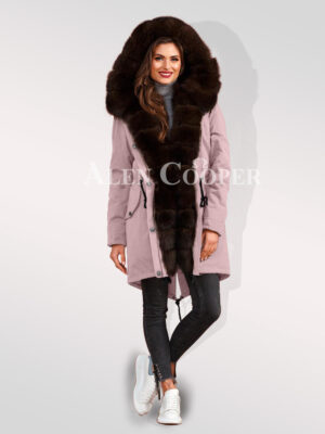 Arctic fox fur hybrid pink parka convertibles to bolster your feminine grace for women