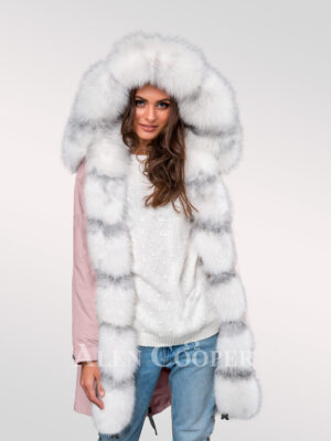 Arctic fox fur hybrid pink parka convertibles to underline your feminine charm