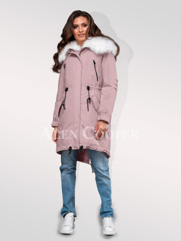 Arctic fox fur hybrid pink parka convertibles to underline your feminine charm for women