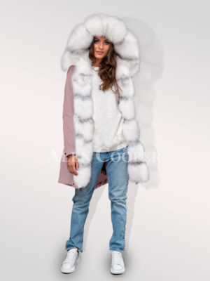 Arctic fox fur hybrid pink parka convertibles to underline your feminine charm for womens