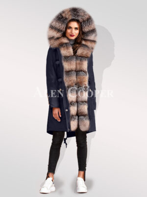 Blue frost fox fur hybrid navy parka convertibles for women highlighting elegance
