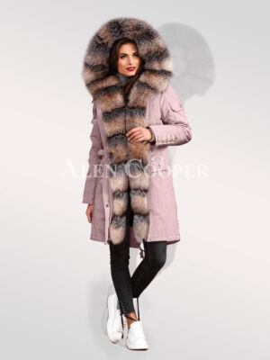 Blue frost fox fur hybrid pink parka convertibles for womens to radiate elegance