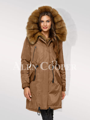 Canadian Sable fur hybrid beige parka convertibles for glamour queens
