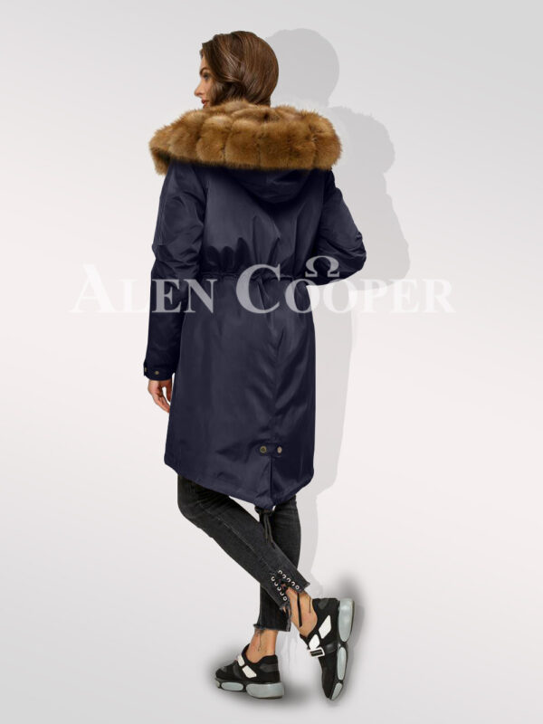 Canadian sable fur Navy hybrid parka convertibles for aristocrat ladies back side view