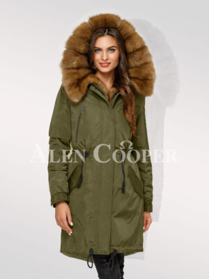 Chic Canadian sable fur ladies' hybrid green parka convertibles for you