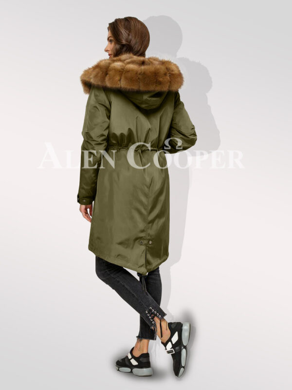 Chic Canadian sable fur ladies' hybrid green parka convertibles for you back side view