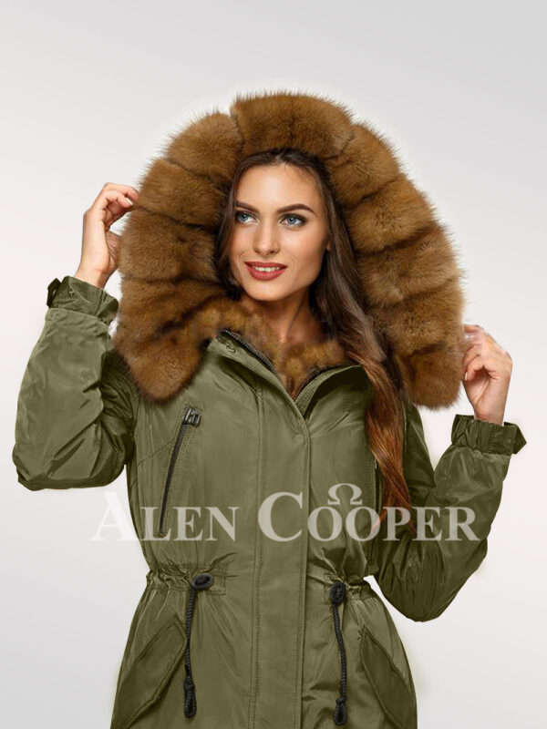 Chic Canadian sable fur ladies' hybrid green parka convertibles for you close view