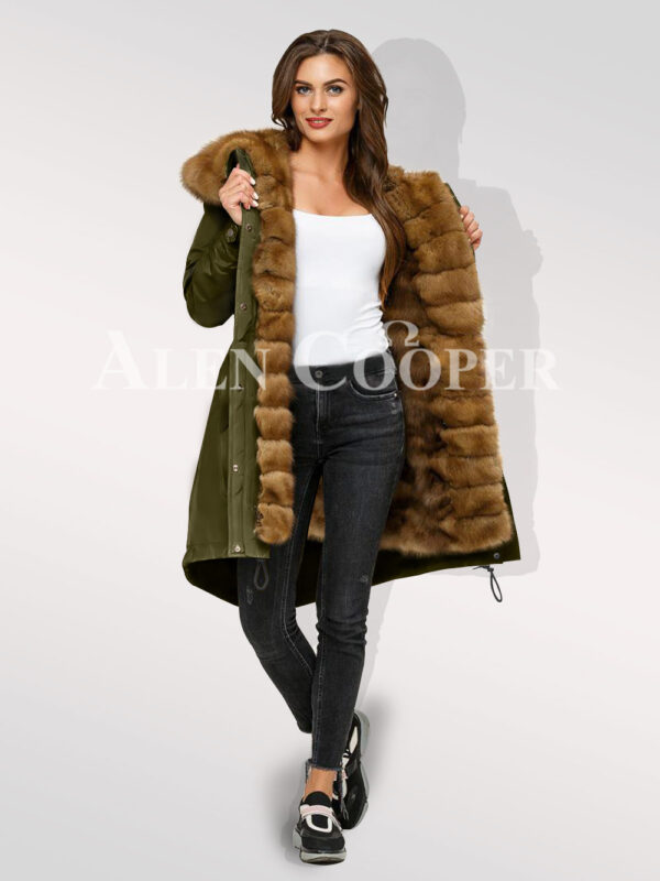 Chic Canadian sable fur ladies hybrid green parka convertibles for you