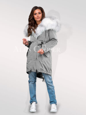 Chic and classy women's grey parka convertibles from Arctic fox fur plates