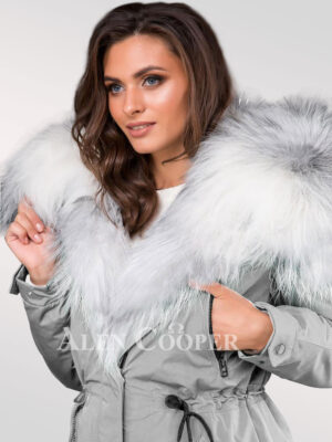 Chic and classy women's grey parka convertibles from Arctic fox fur plates view