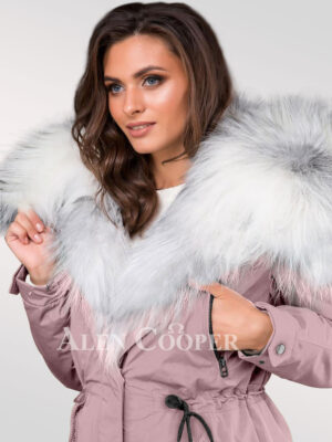 Chic arctic fox fur pink parka convertibles for women to redefine taste fashion