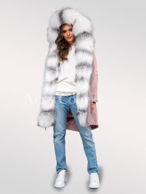 Chic arctic fox fur pink parka convertibles for womens to redefine taste and fashion
