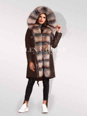 Classy and eye-catchy blue frost fox fur hybrid coffee parka convertibles for womens