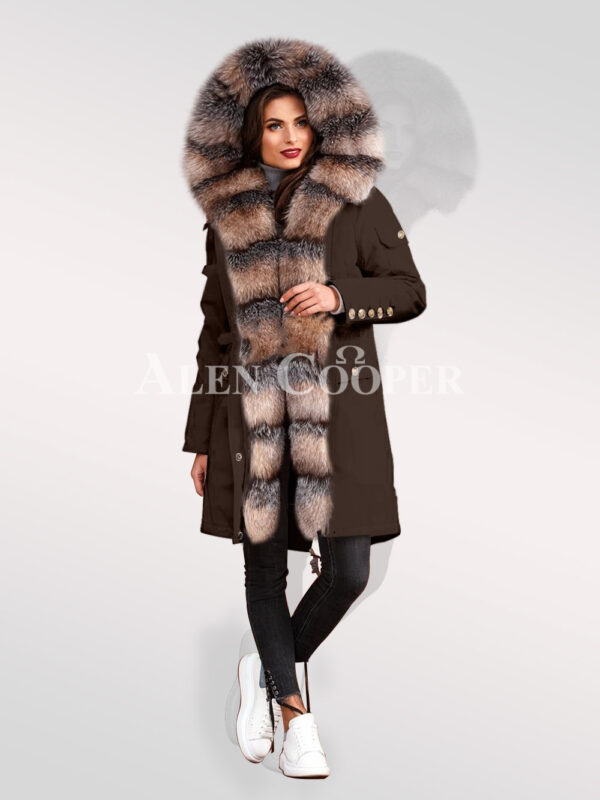 Classy and eye-catchy blue frost fox fur hybrid coffee parka convertibles for women's