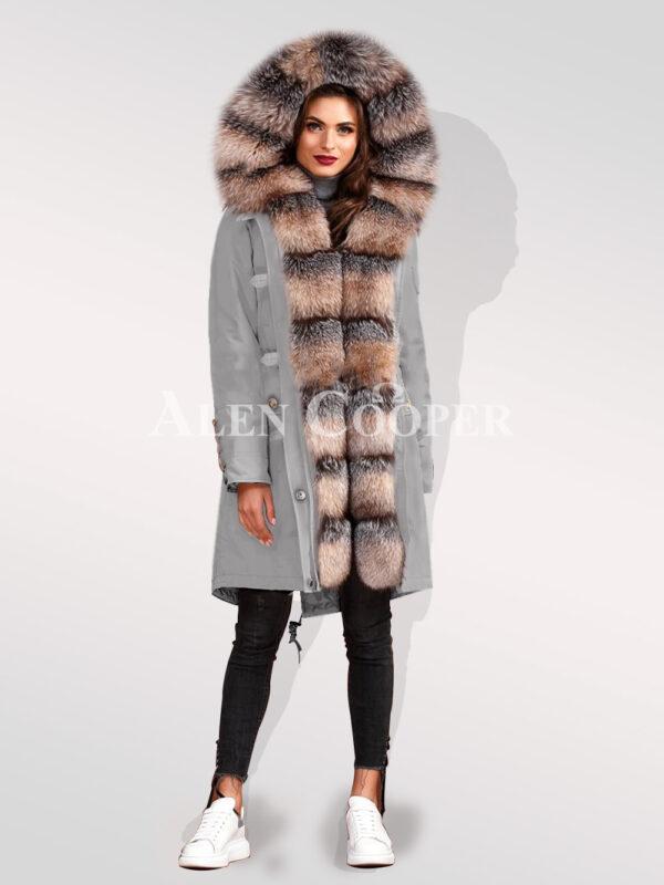 Elegant and trendy blue frost fox fur hybrid grey parka convertibles for women