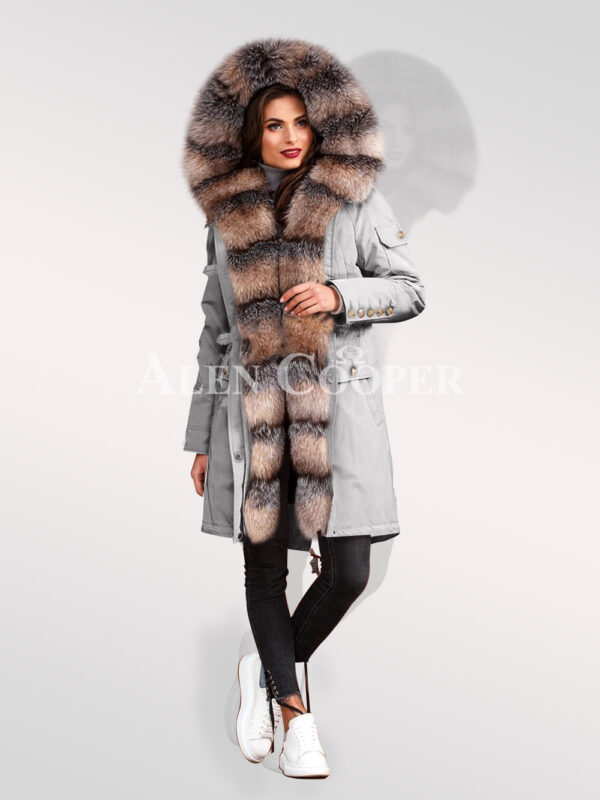 Elegant and trendy blue frost fox fur hybrid grey parka convertibles for womens