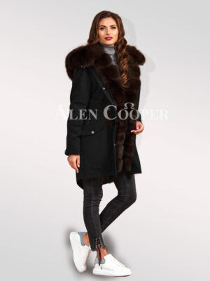 Exotic Arctic fox fur black parka convertibles to bring out the fairy in you