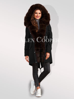 Exotic Arctic fox fur black parka convertibles to bring out the fairy in you for women
