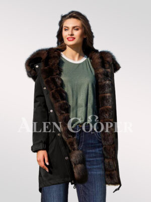 Exotic Arctic fox fur black parka convertibles to bring out the fairy in you views