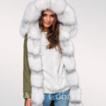 Exotic hybrid Green convertible parkas from Arctic fox fur for women
