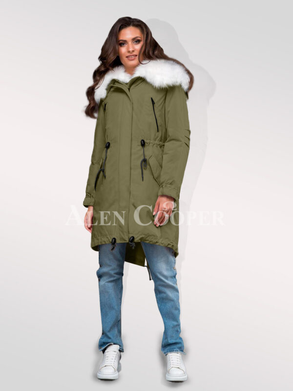 Exotic hybrid Green convertible parkas from Arctic fox fur for womens