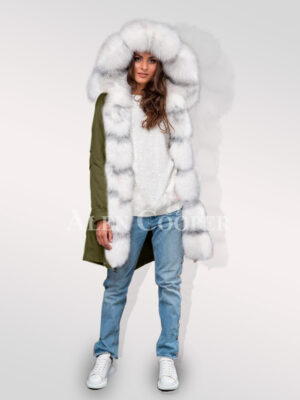 Exotic hybrid Green convertible parkas from Arctic fox fur for women's