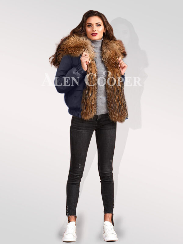 Exquisite Finn raccoon hybrid navy bomber jacket convertibles stylish women cannot ignore