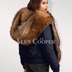 Exquisite Finn raccoon hybrid navy bomber jacket convertibles stylish women cannot ignore back side view
