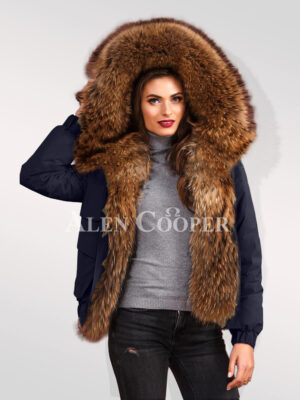 Exquisite Finn raccoon hybrid navy bomber jacket convertibles stylish women cannot ignore women