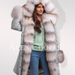 Fascinating but limited version of Blue frost fox fur hybrid grey parka convertibles for women new