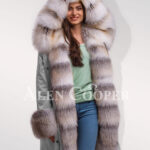 Fascinating but limited version of Blue frost fox fur hybrid grey parka convertibles for women's