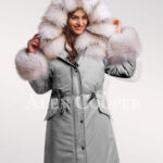 Fascinating but limited version of Blue frost fox fur hybrid grey parka convertibles for womens