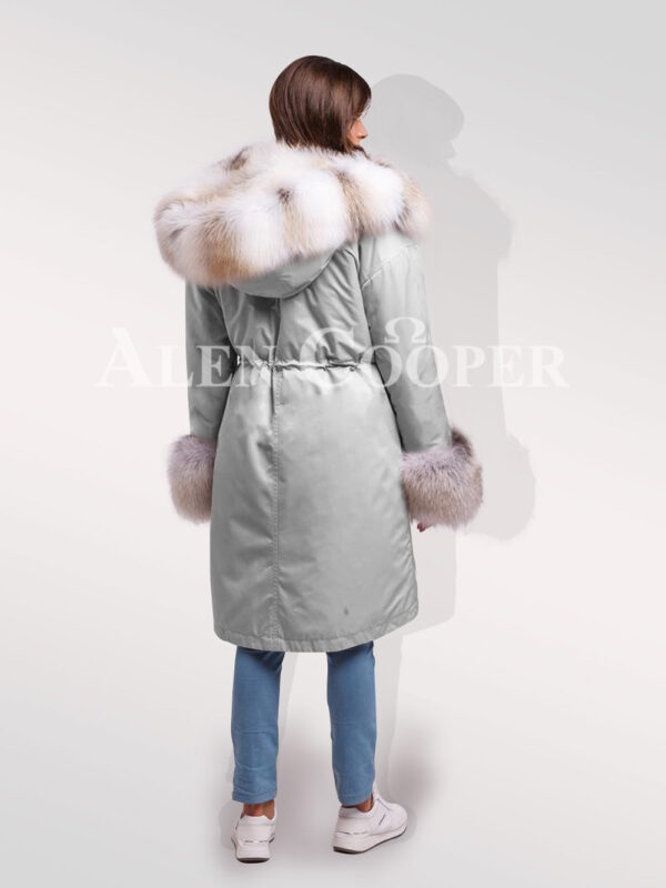 Fascinating but limited version of Blue frost fox fur hybrid grey parka convertibles for womens back side view