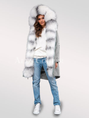 Fascinating collection of Arctic fox fur black parka convertibles for divas for womens