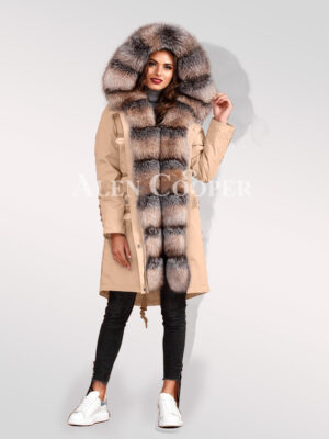 Graceful and Innovatively designed blue frost fox fur hybrid beige parka convertibles for women